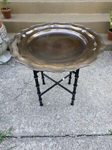 Tray table with faux bamboo stand Chinoiserie Asian Traditional Decor Side Tabkw