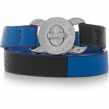 MARC JACOBS 'Turnlock - Katie' Leather Wrap Bracelet electric Blue NWT