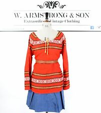 Women's 70's VINTAGE Aztec Norwegian Scandi Gypsy BOHO Hippie Woven Red Top UK M
