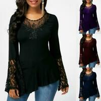 Women's Floral Lace Long Bell Sleeve Casual Loose Blouse Tee Top Autumn Shirts
