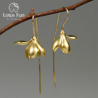 18K Gold Magnolia Flower Long Dangle Earrings Solid 925 Sterling Silver Jewlery