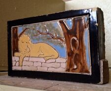 Antique The Stark Brick Co Canton Ohio, Lyon - Lion Glazed Brick Tile
