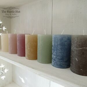Mini Rustic Pillar Candle 8 x 5cm 16hr - Pink Coal Olive Cream Taupe Blue Honey