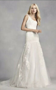 Vera Wang One Shoulder Lace Wedding Dress-NEW w/ Tags Size 12; Never Worn