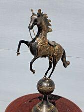 "BRONZE/BRASS REARING HORSE STATUE / Saddle  Reins & Stirrup 22"" Tall /12 1/2"" L"