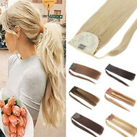 Human Hair Ponytail Extension Wrap Around Clip in Pony Tail Extensions 100g