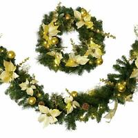Matching Gold & Cream Christmas Garland & Wreath Decorated With Pre-Lit LED