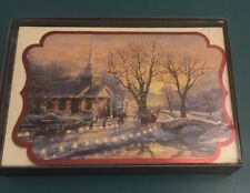 Church and Lighted Road Thomas Kinkade Box of 16 Die Cut Christmas Cards