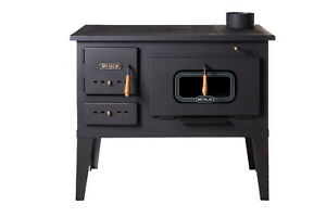 Wood Burning Cooking Stove Cast Iron Top Log Burner Oven 8-12 kw heating Power