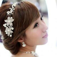 Pearl Bead Crystal Flower Tiara Jewelry Hair Band Clip For Wedding Party Dress