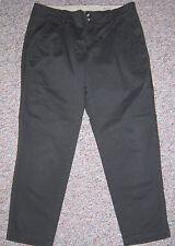 EDDIE BAUER Brown Pleated Mercer Fit Slim Straight Leg Cropped Capris Pants Sz 8