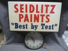 vtg/antique Seidlitz Paints Light Up Box Sign & Teardrop Clock