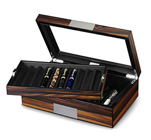 Lifomenz Co Pen Display Box Ebony Wood Pen Display Case,Fountain Pen Storage Pen