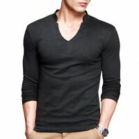 Classic Mens V-neck Long sleeve Thin Elasticity Lycra Cotton T-shirts Mens M-XXL