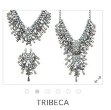 PREMIER DESIGNS JEWELRY TRIBECA Necklace Earrings SILVER PLATED BEADS RHINESTONE