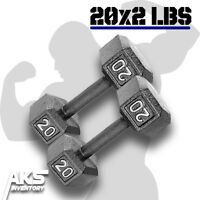 Pair of 20 Pound Cast Iron Hex Dumbells Home Gym Exercise Workout Free Weights