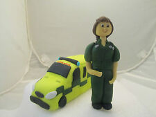 lady paramedic  & ambulance edible figure birthday cake topper occupation