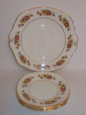 Duchess Russet Floral Design Bone China Cake Plate & 4 x Side Plates - Lovely