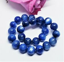 """STUNNING ROYAL BLUE KYANITE ROUND BEADS STRETCH BRACELET 8mm 8"""" AAA++++ 137cts"""