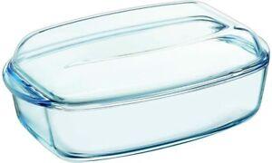 Pyrex Essentials Glass Rectangular Casserole Dish with Lid 6.5L - Transparent