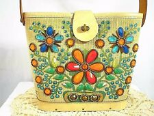 ENID COLLINS WOMEN'S HANDBAG PURSE FLOWER BASKET LEATHER WOOD BOTTOM JEWELED