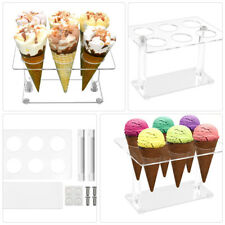 More details for 6 cone ice cream cone holder tray counter top display party dessert stand rack