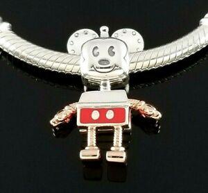 Pandora Disney Robot Mickey Mouse Charm Silver Rose Gold Collection