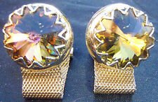 Single Round MultiColored Ornate Gold Colored Wrap-Around Jewelry Cufflink Set