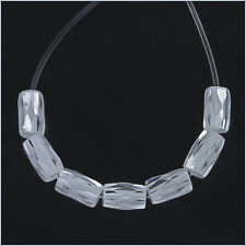 15 Cubic Zirconia Tube Beads 3 x 5mm White / Clear #96032