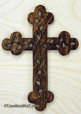 The Vine Budded Cross, Baltic Birch, for Wall Hanging or Ornament, Item S3-1
