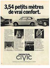 PUBLICITE  1977   HONDA CIVIC 1250    3.54 PETITS METRES de vrai confort
