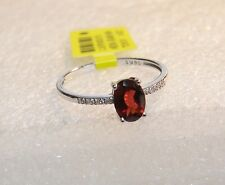 $590 14K WHITE GOLD .9 CT DIAMOND AND RED GARNET RING SIZE 7 - BRAND NEW N598-X
