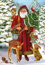 "Toland Christmas Woodland Santa Small Garden Flag 12.5"" x 18"" - 118303"