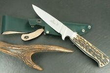 "NEW !! HUBERTUS GERMAN FISH TYPE HUNTING KNIFE 1.4034 / 3.74"" BLADE / STAG"
