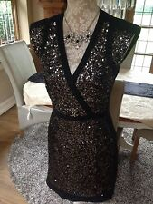 DESIGNER FRENCH CONNECTION FCUK LUCINDA CROSS OVER BLACK SEQUIN DRESS 6 8