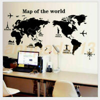 Sofa Background PVC Wall StickersRemovable World Map Black Travel Living Room