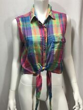 Plaid Halter Top Button Front Tie Front Great Colours Retro Collared