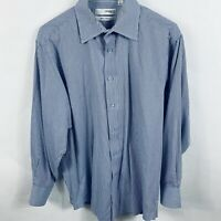 Ungaro Homme Mens Button Up Shirt 16/32-33 Long Sleeve Blue And White Striped