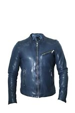 Mens Real Dark Navy Sheep Leather Fit Bikers Jacket Casual Outwear LCM4