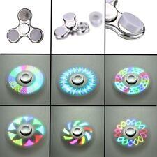 Silver LED Light Glitter Fidget Hand Spinner Finger Gyro Focus Kids Children Toy