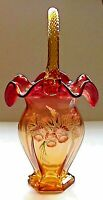 Fenton Art Glass Gold Amberina At Woodlands Edge Basket Historic Collection LE