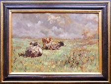 R. Alfred Queck 1878-1932: Kühe auf der Weide vor Windmühle Ölgemälde 49 x 35 cm