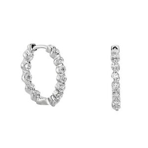 0.89ct Diamond Earrings 18K All Natural 2.5 Grams Rounds Hoop Style G VS