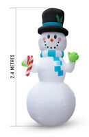 Giant 2.4m Inflatable Snowman with LED Lights Christmas Decoration