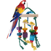 Colorful Wooden Stand Bar Block Rope Parrot Climb Bite Swing Cage Bird Pet Toys