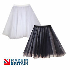 LADIES Net Underskirt Petticoat Bridesmaid/Prom Dress BLACK and WHITE ADULT