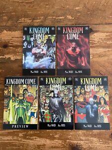 Kingdom Come Preview & #1 #2 #3 #4 DC Comics Mark Waid Alex Ross Set 1996 r