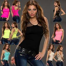 Women Top Ladies Net Blouse Clubbing Mesh Party Sleeveless Shirt Size 6 8 10 12