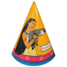 POCAHONTAS CONE HATS (8) ~ Birthday Party Supplies Paper Favors Disney Vintage