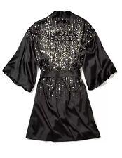 Victoria's Secret New York Fashion Show 2018 Black Satin Robe Kimono M/L New